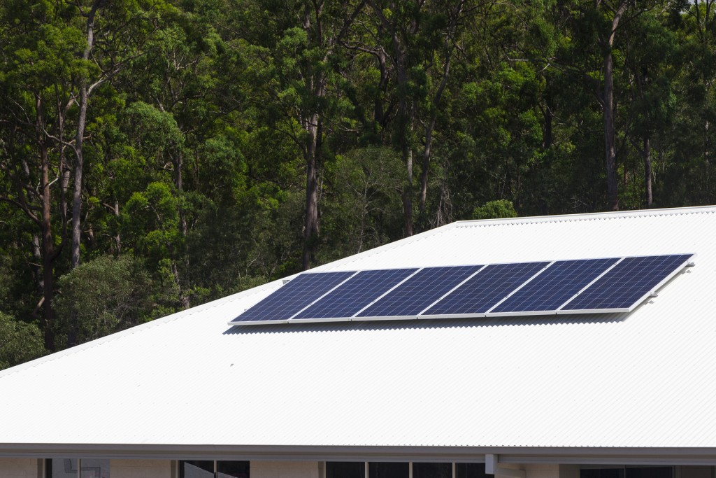 Solar photovoltaic panels installed on aluminium roof